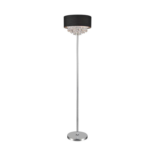 Dash 65 in. Chrome Floor Lamp with Black Shade
