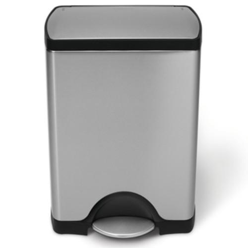 simplehuman Rectangular Step Brushed Stainless Steel Trash Can (8 Gallon)