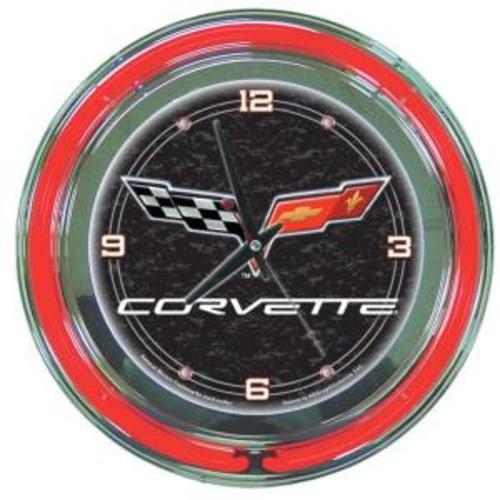 Trademark Global 14 in. Black Corvette C6 Neon Wall Clock