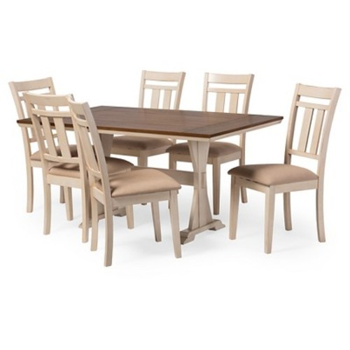 Roseberry Shabby Chic French Country Cottage Antique Oak Wood & Distressed White 7-Piece Dining Set - Baxton Studio