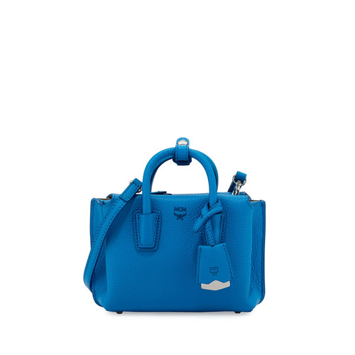 MCM Milla X-Mini Leather Tote Bag, Tile Blue