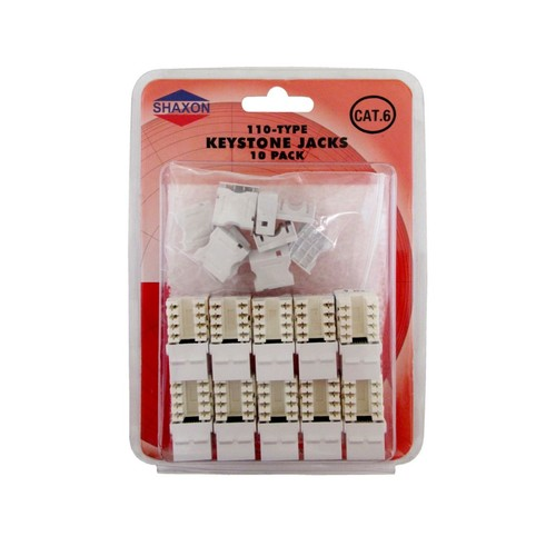 Shaxon Category 6 RJ45/110 568A/B Keystone Jack, White, 10/Pack