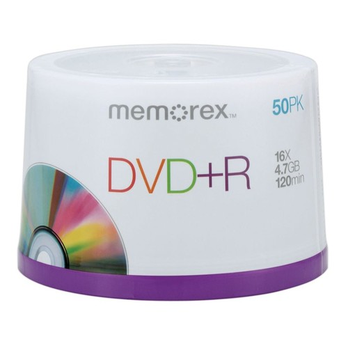 Memorex DVD+R Recordable Media Spindle, 4.7GB/120 Minutes, Pack Of 50
