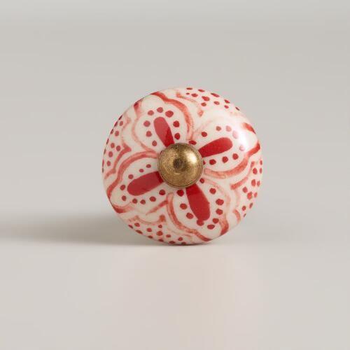 Red Basic Ceramic Floral Knobs, Set of 2