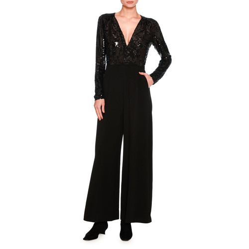 STELLA MCCARTNEY Long-Sleeve Sequined V-Neck Jumpsuit, Black