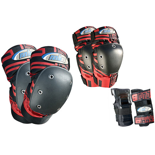 MBS Pro Tri-pack Large Red-and-black Cushioned Protective Pads - MBS PRO TRI-PACK PADS- RED (L)