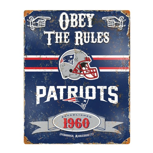 England Patriots Embossed Metal Sign