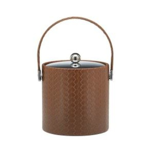 Kraftware San Remo Pinecone 3 Qt. Ice Bucket with Stitched Handle, Metal Lid