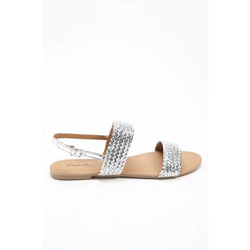 Qupid Metallic Braided Sandals