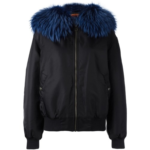 MR & MRS ITALY Bomber Jacket with Raccoon Fur Collar