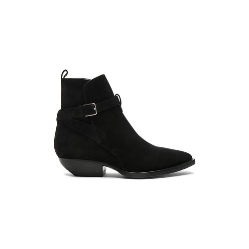 Saint Laurent Suede Theo Jodhpur Boots in Black