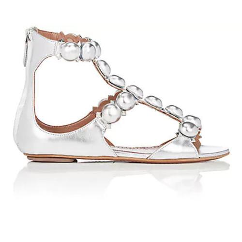 Alaa Embellished Metallic Leather Sandals