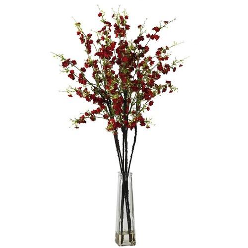 Nearly Natural Cherry Blossoms w Vase Silk Flower Arrangement