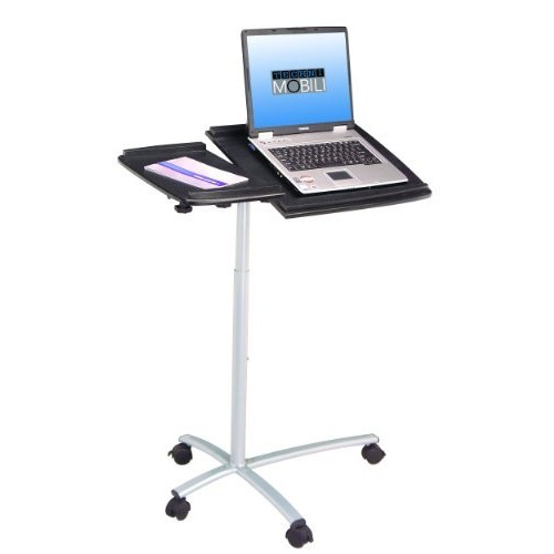 TECHNI MOBILI Sit-to-Stand Rolling Adjustable Laptop Cart - Graphite [Charcoal]
