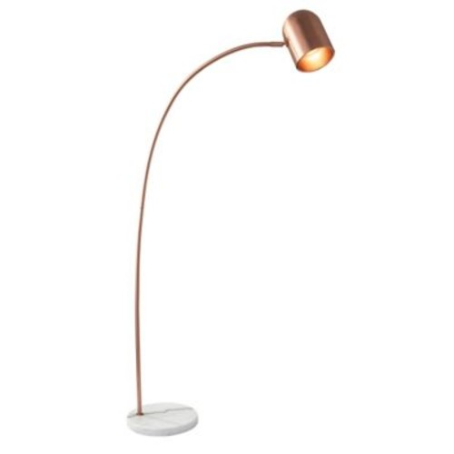 Adesso Simone Floor Lamp in Brushed Copper with Copper Shade
