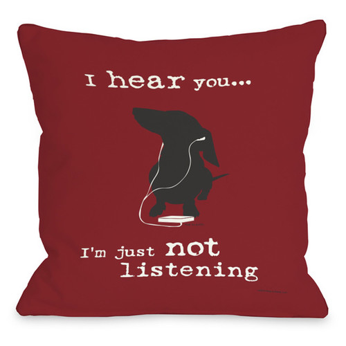 Not Listening Red Throw Pillow [option : 16 x 16 Pillow]