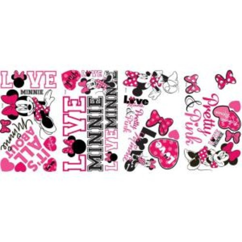 10 in. x 18 in. Mickey and Friends - Minnie Loves Pink 28-Piece Peel and Stick Wall Decals