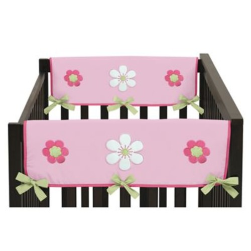 Sweet Jojo Designs Flower Side Crib Rail Covers in Pink and Green (Set of 2)