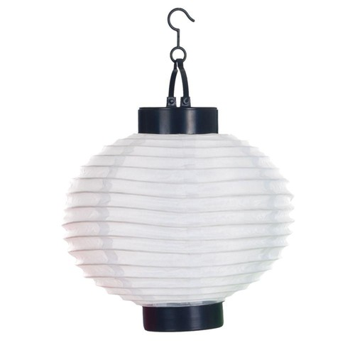 Pure Garden 4-Light White Outdoor LED Solar Chinese Lantern