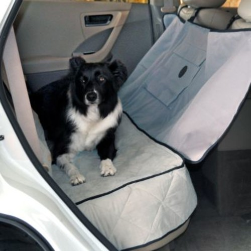 K&H Pet Products Car Seat Saver Deluxe with Removable Front Seat Barrier Protects your Back Seat [Gray, 54-Inch]