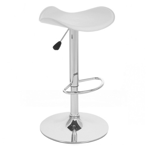 Gamma Contemporary Faux LeatherAdjustable Barstool (Set of 2) - White