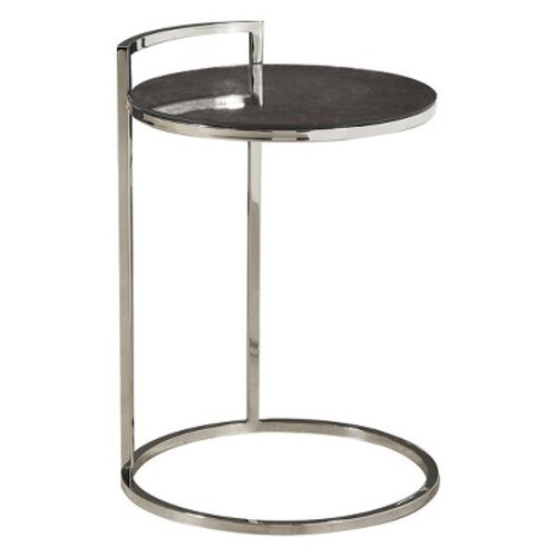 Hale Contemporary Round Stainless Steel And Glass Side Table Silver - Pulaski