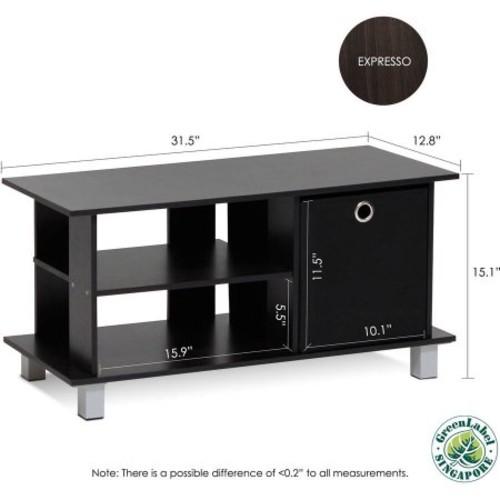 Furinno Simplistic TV Entertainment Center with Bin Drawers, Espresso/Black