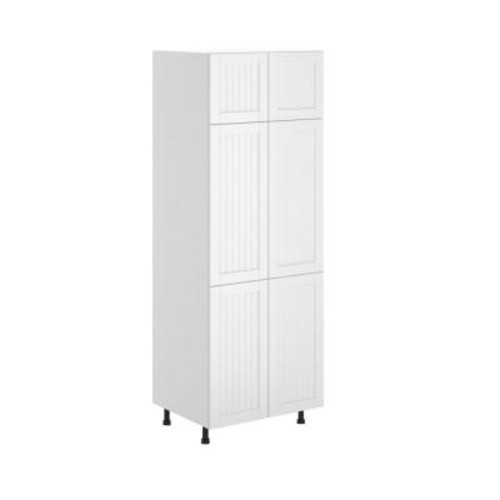 Eurostyle Odessa Ready to Assemble 30 x 83.5 x 24.5 in. Pantry/Utility Cabinet in White Melamine and Door in White