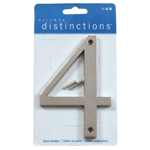 Distinctions by Hillman 843324 4-Inch Brushed Nickel Flush-Mount House Number 4 [Brushed Nickel, Number 4]