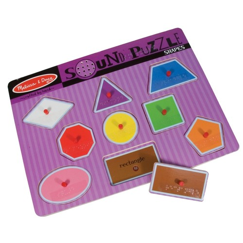 Melissa & Doug Sound Puzzle with Braille Pieces- Talking Shapes