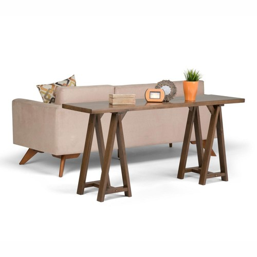 Simpli Home Sawhorse Medium Saddle Brown Console Table