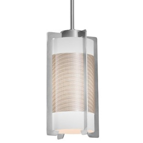 Access Lighting Iron Pendant [Shade Color : Opal; Finish : Brushed Steel]