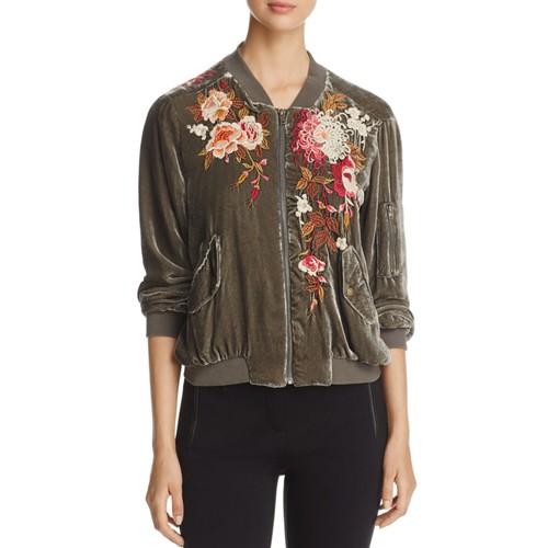 Embroidered Velvet Bomber Jacket