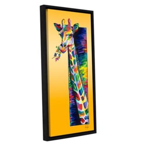 ArtWall Giraffe Eating by Linzi Lynn Framed Painting Print on Wrapped Canvas; 12'' H x 24'' W