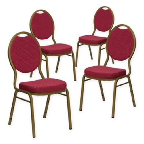 Flash Furniture HERCULES Padded Banquet Chairs in Burgundy/Gold (Set of 4)