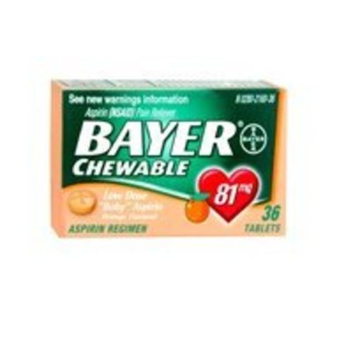 Bayer Bayer Children's Aspirin Chewable Low Dose Orange, Orange 36 tabs 81 mg(Pack of 2)