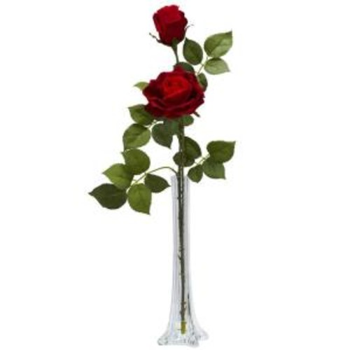 Nearly Natural 24 in. H Red Roses with Tall Bud Vase Silk Flower Arrangement