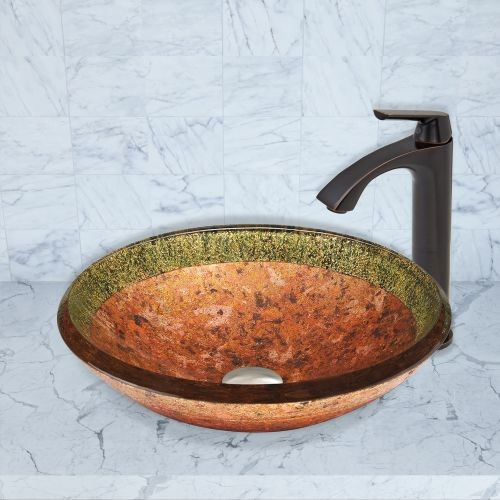 VIGO Glass Vessel Sink in Janus and Linus Faucet Set in Antique Rubbed Bronze