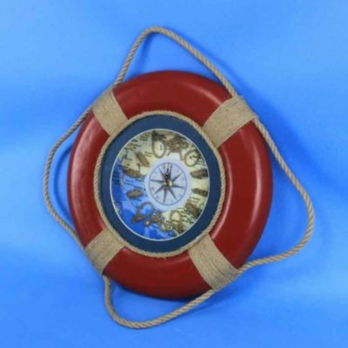 Handcrafted Nautical Decor Vintage Decorative Life Ring 15'' Clock; Red