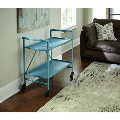 Cosco Home and Office Products Teal Metal Shelf Folding Serving Cart