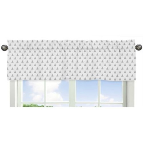 Sweet Jojo Designs Earth and Sky Triangle Print Window Valance in Grey/White