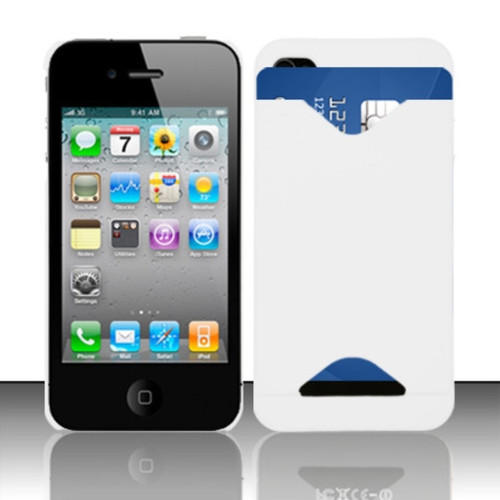 Insten White ID Cover Rubberized Hard Case Cover w/ ID Holder For Apple iPhone 4 / 4S