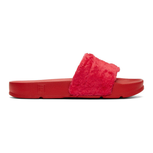 Red Fila Edition Shearling Drifter Slides