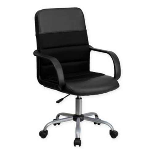 Flash Furniture Mid-Back Faux Leather and Mesh Swivel Task Chair in Black