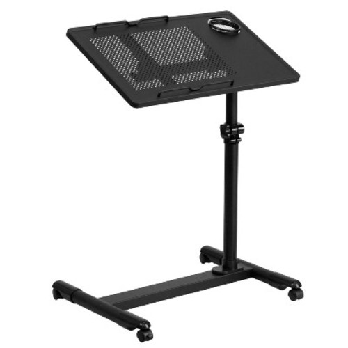 Black Adjustable Height Steel Mobile Computer Desk - Flash Furniture
