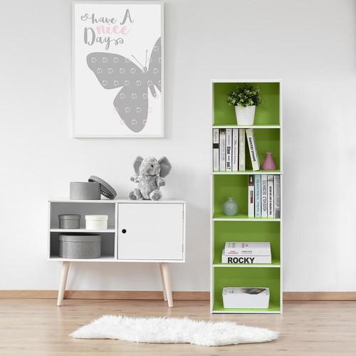 Furinno White and Green 5-Tier Reversible Color Open Shelf Bookcase
