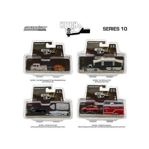 Hitch & Tow Series 10 Set of 4 1/64 Diecast Model Cars by Greenlight