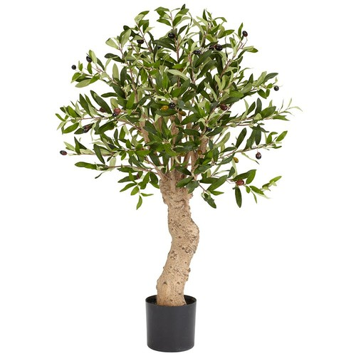 Nearly Natural 2.5 ft. Green Olive Silk Tree