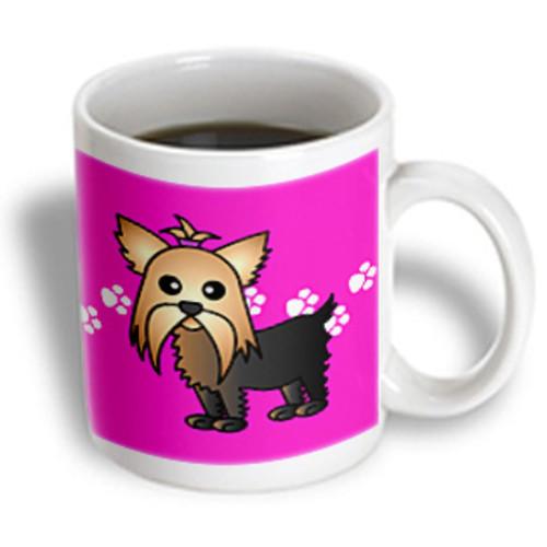 3dRose - Janna Salak Designs Dogs - Cute Yorkshire Terrier Yorkie Pink with Paw Prints - 11 oz mug