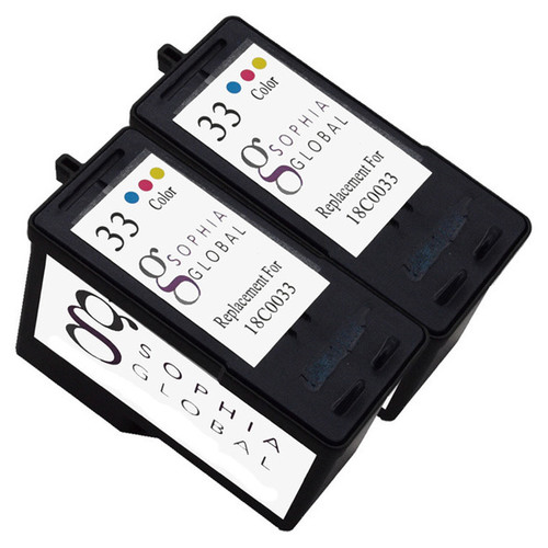 Sophia Global Lexmark 33 Remanufactured 2-piece Color Ink Cartridge Replacement Set